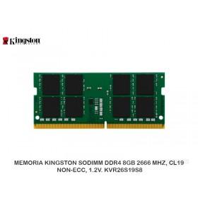 MEMORIA KINGSTON SODIMM DDR4 8GB 2666 MHZ, CL19, NON-ECC, 1.2V. KVR26S19S8