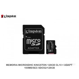 MEMORIA MICROSDHC KINGSTON 128GB CL10 + ADAPT 100MB/SEC SDCS2/128GB