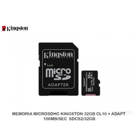 MEMORIA MICROSDHC KINGSTON 32GB CL10 + ADAPT 100MB/SEC SDCS2/32GB