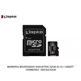 MEMORIA MICROSDHC KINGSTON 32GB CL10 + ADAPT 100MB/SEC  SDCS2/32GB