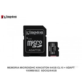 MEMORIA MICROSDHC KINGSTON 64GB CL10 + ADAPT 100MB/SEC  SDCS2/64GB