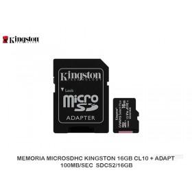 MEMORIA MICROSDHC KINGSTON 16GB CL10 + ADAPT 100MB/SEC  SDCS2/16GB