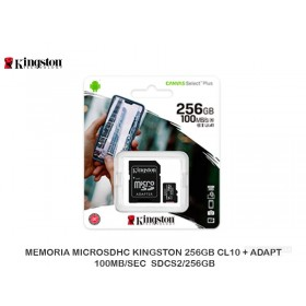 MEMORIA MICROSDHC KINGSTON 256GB CL10 + ADAPT 100MB/SEC SDCS2/256GB