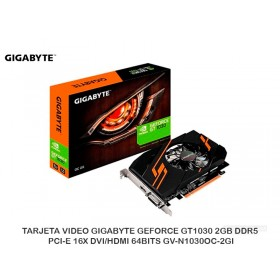 TARJETA VIDEO GIGABYTE GEFORCE GT1030 2GB DDR5 PCI-E 16X DVI/HDMI 64BITS GV-N1030OC-2GI