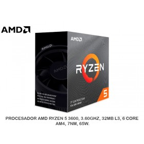 PROCESADOR AMD RYZEN 5 3600, 3.60GHZ, 32MB L3, 6 CORE, AM4, 7NM, 65W.