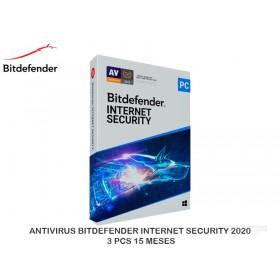 ANTIVIRUS BITDEFENDER INTERNET SECURITY 2020 3 PCS 15 MESES