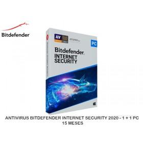 ANTIVIRUS BITDEFENDER INTERNET SECURITY 2020 - 1 + 1 PC 15 MESES
