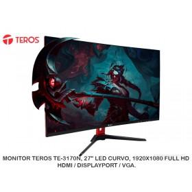 "MONITOR TEROS TE-3170N, 27"" LED CURVO, 1920X1080 FULL HD, HDMI / DISPLAYPORT / VGA."