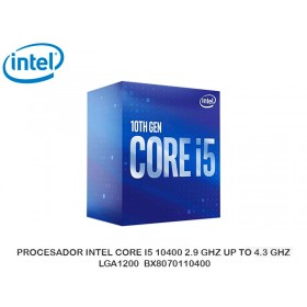 PROCESADOR INTEL CORE I5 10400 2.9 GHZ UP TO 4.3 GHZ LGA1200 BX8070110400