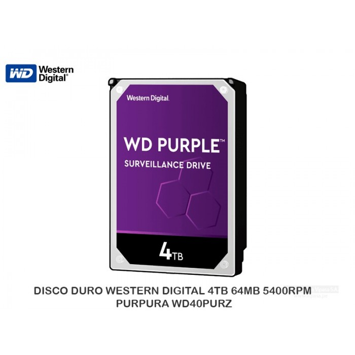 DISCO DURO WESTERN DIGITAL 4TB 64MB 5400RPM PURPURA WD40PURZ