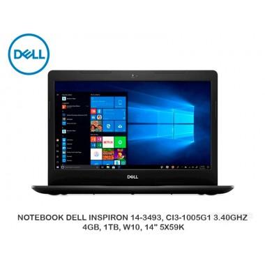 "NOTEBOOK DELL INSPIRON 14-3493, CI3-1005G1 3.40GHZ, 4GB, 1TB, W10, 14"" 5X59K"
