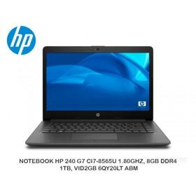 NOTEBOOK HP 240 G7 CI7-8565U 1.80GHZ, 8GB DDR4, 1TB, VID2GB 6QY20LT ABM