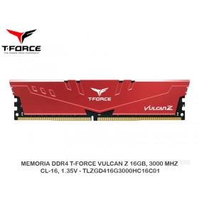 MEMORIA DDR4 T-FORCE VULCAN Z 16GB, 3000 MHZ, CL-16, 1.35V - TLZGD416G3000HC16C01