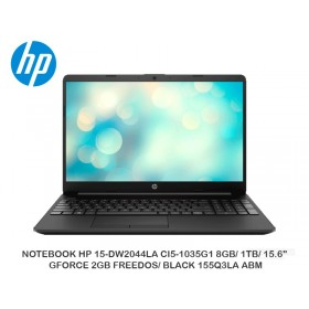 "NOTEBOOK HP 15-DW2044LA CI5-1035G1 8GB/ 1TB/ 15.6""/ GFORCE 2GB FREEDOS/ BLACK 155Q3LA ABM"