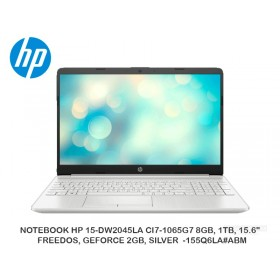 "NOTEBOOK HP 15-DW2045LA CI7-1065G7 8GB, 1TB, 15.6"", FREEDOS, GEFORCE 2GB, SILVER -155Q6LA ABM"