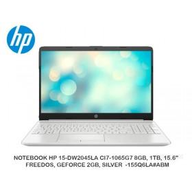"""NOTEBOOK HP 15-DW2045LA CI7-1065G7 8GB, 1TB, 15.6"""", FREEDOS, GEFORCE 2GB, SILVER -155Q6LA ABM"""