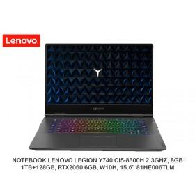 """LAPTOP LENOVO LEGION Y740 CI5-8300H 2.3GHZ, 8GB, 1TB+128GB, RTX2060 6GB, W10H, 15.6"""" 81HE006TLM"""