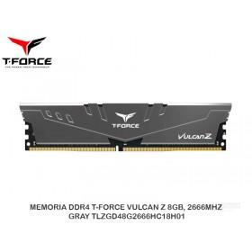 MEMORIA DDR4 T-FORCE VULCAN Z 8GB, 2666MHZ, GRAY TLZGD48G2666HC18H01