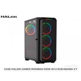 CASE HALION GAMER IRONMAN 500W 4X12 RGB+BANDA V.T