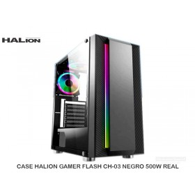 CASE HALION GAMER FLASH CH-03 NEGRO 500W REAL