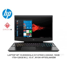 "LAPTOP HP 15-DH0003LA CI7-9750H 2.60GHZ, 16GB, 1TB+128GB M.2, 15.6"", W10H 4PF85LA ABM"