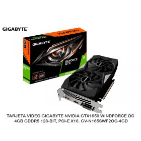 TARJETA VIDEO GIGABYTE NVIDIA GTX1650 WINDFORCE OC, 4GB GDDR5 128-BIT, PCI-E X16. GV-N165SWF2OC-4GD