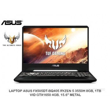 "LAPTOP ASUS FX505DT-BQ405 RYZEN 5 3550H 8GB, 1TB, VID GTX1650 4GB, 15.6"" METAL"