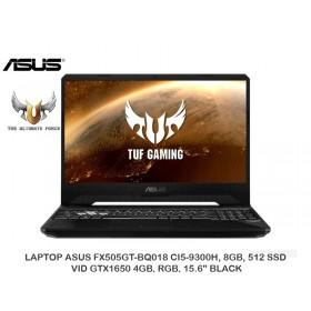 "LAPTOP ASUS FX505GT-BQ018 CI5-9300H, 8GB, 512 SSD, VID GTX1650 4GB, RGB, 15.6"" BLACK"
