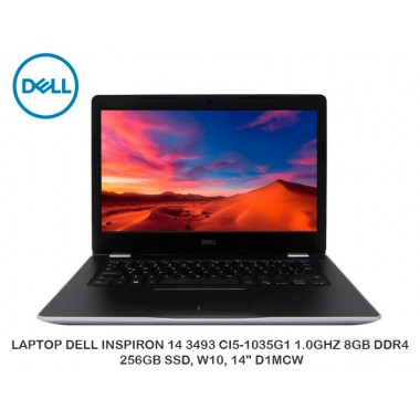 "LAPTOP DELL INSPIRON 14 3493 CI5-1035G1 1.0GHZ 8GB DDR4, 256GB SSD, W10, 14"" D1MCW"