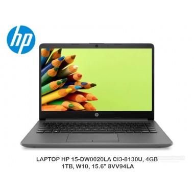 """LAPTOP HP 15-DW0020LA CI3-8130U, 4GB, 1TB, W10, 15.6"""" 8VV94LA"""
