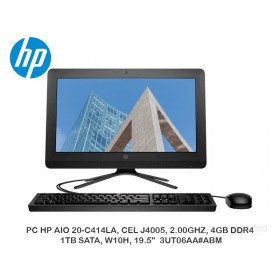 "PC HP AIO 20-C414LA, CEL J4005, 2.00GHZ, 4GB DDR4, 1TB SATA, W10H, 19.5"" 3UT06AA ABM"