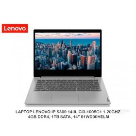 "LAPTOP LENOVO IP S300 14IIL CI3-1005G1 1.20GHZ, 4GB DDR4, 1TB SATA, 14"" 81WD00HELM"