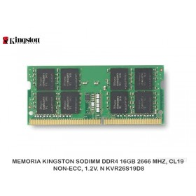 MEMORIA KINGSTON SODIMM DDR4 16GB 2666 MHZ, CL19, NON-ECC, 1.2V. N KVR26S19D8