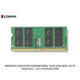 MEMORIA KINGSTON SODIMM DDR4 16GB 2666 MHZ, CL19, NON-ECC, 1.2V. N KVR26S19D8