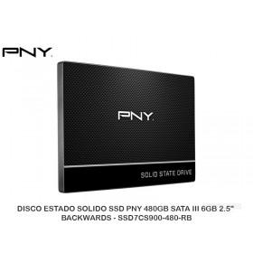 """DISCO ESTADO SOLIDO SSD PNY 480GB SATA III 6GB 2.5"""" BACKWARDS - SSD7CS900-480-RB"""