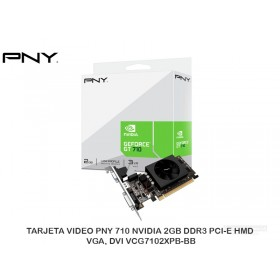 TARJETA VIDEO PNY 710 NVIDIA 2GB DDR3 PCI-E HMD, VGA, DVI VCG7102XPB-BB