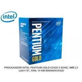 PROCESADOR INTEL PENTIUM GOLD G5420 3.8GHZ, 4MB L3, LGA1151, 54W, 14 NM BX80684G5420
