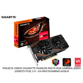 TARJETA VIDEO GIGABYTE RADEON RX570 8GB GAMING, DDR5, 256BITS PCIE 3.0 - GV-RX570GAMING-8GB-R