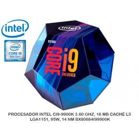 PROCESADOR INTEL CI9-9900K 3.60 GHZ, 16 MB CACHÉ L3, LGA1151, 95W, 14 NM BX80684I99900K