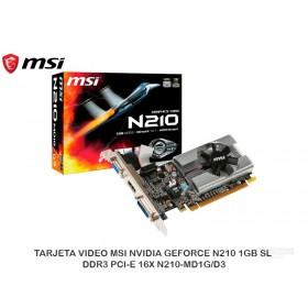 TARJETA VIDEO MSI NVIDIA GEFORCE N210 1GB SL DDR3 PCI-E 16X N210-MD1G/D3