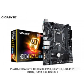PLACA GIGABYTE H310M M.2 2.0, REV 1.0, LGA1151, DDR4, SATA 6.0, USB 3.1