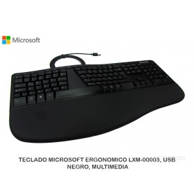 TECLADO MICROSOFT ERGONOMICO LXM-00003, USB, NEGRO, MULTIMEDIA