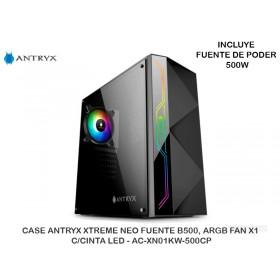 CASE ANTRYX XTREME NEO FUENTE B500, ARGB FAN X1, C/CINTA LED - AC-XN01KW-500CP