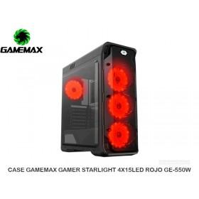 CASE GAMEMAX GAMER STARLIGHT 4X15LED ROJO GE-550W