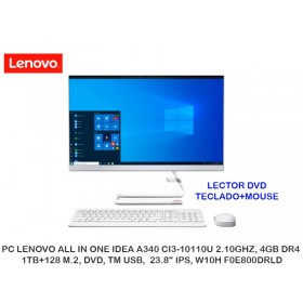 "PC LENOVO ALL IN ONE IDEA A340 CI3-10110U 2.10GHZ, 4GB DR4, 1TB+128 M.2, DVD, TM USB,  23.8"" IPS, W10H F0E800DRLD"