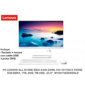 "PC LENOVO ALL IN ONE IDEA A340-24IWL CI3-10110U 2.10GHZ, 4GB DR4, 1TB, DVD, TM USB, 23.8"", W10H F0E800DSLD"
