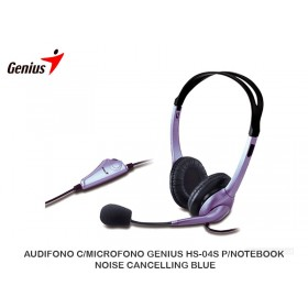 AUDIFONO C/MICROFONO GENIUS HS-04S P/NOTEBOOK NOISE CANCELLING BLUE
