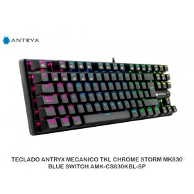 TECLADO ANTRYX MECANICO TKL CHROME STORM MK830, BLUE SWITCH AMK-CS830KBL-SP