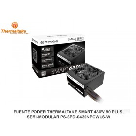 FUENTE PODER THERMALTAKE SMART 430W 80 PLUS, SEMI-MODULAR PS-SPD-0430NPCWUS-W