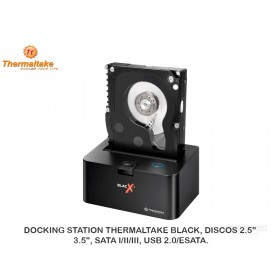 "DOCKING STATION THERMALTAKE BLACK, DISCOS 2.5"", 3.5"", SATA I/II/III, USB 2.0/ESATA."